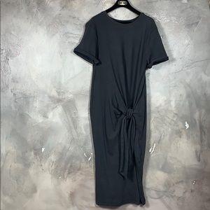 Zara midi dress with front tie (gray)